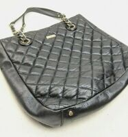 Kate Spade Black Quilted Leather Handbag Tote Bag Chain Handle
