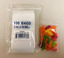 "3x4 ZIPLOCK BAGS 2MIL CLEAR PLASTIC POLY ZIP LOCK BAGGIES 3"" x 4"" RECLOSABLE 100"
