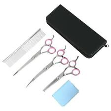 """New 7"""" Portable Pet Dog Cat Grooming Scissors Cutting Curved Thinning Shears Set"""