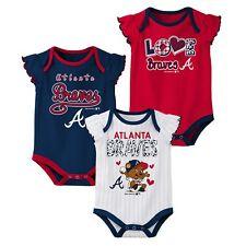 Outerstuff MLB Baseball Infants Atlanta Braves 3 pack Creeper Set