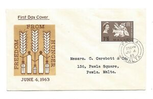 1963 First Day Cover Freedom from Hunger. Malta 1/6 stamp, PAOLA cancel.