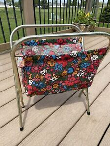 Vintage Knitting Sewing Yarn Cloth Bag Folding Metal Frame Basket Floral