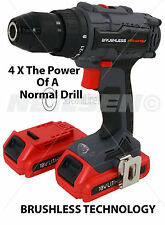 18V Brushless Motor Cordless Drill with LED Light + 2 Lithium-Ion Batteries 3971