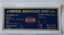 LAVERDA Montjuic 500 Calcomanía de advertencia de precaución neumáticos y capacidades