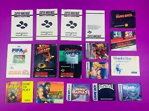 Mixed NES, SNES, GameBoy, Gameboy Advance and Sega Manuals & Slips x 17