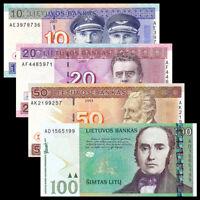 Lithuania Set 4 PCS 10, 20, 50, 100 Litu, P67-70, Banknotes, UNC