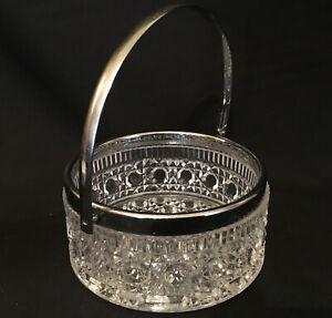 "GLORIOUS BASKET ""Clear & Silver"" Gorgeous Glass Bonbon Dish Bowl with Metal Edge"