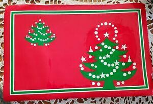 """4 WAECHTERSBACH VINYL PLACEMATS CHRISTMAS TREE STARS 18"""""""