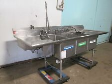 """""""AMERICAN DELPHI"""" COMMERCIAL 3 COMPARTMENT SINK w/SPRAYER WAND, CHEM DISPENSER"""