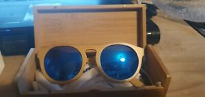 Bamboo Sun Glasses shades blue, orange or red lens
