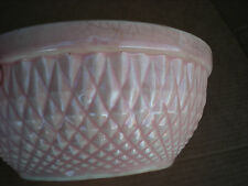 "Hull Pink Mixing Bowl Diamond Quilt Nuline Bak-Serve 6 1/2"" USA"