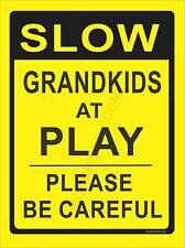 SLOW GRANDKIDS AT PLAY road sign, warning, safety, grandkids sign, ALUMINUM SIGN