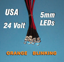 10 FLASHING LEDS 5mm PRE WIRED 24 VOLT ORANGE BLINK 24V PREWIRED BLINKING