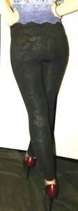 HUE, Sexy, Black Leggings, Subtle Shine Design, Nylon Spandex Jeggings, Shiny,XS