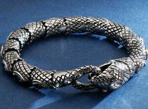 MENS SILVER AZTEC SNAKE DIAMONDS SOLID316L STAINLESS STEEL BRACELET FOR MEN 22CM