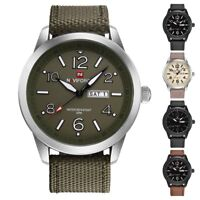 Fashion Men Sport Casual Calendar Waterproof Watch Nylon Band Quartz Wristwatch
