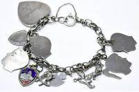 Vintage Sterling Silver Charm Bracelet & 11 Charms 40 GRAMS Beautiful!