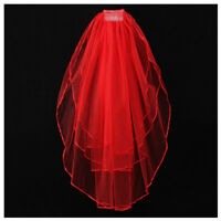 3 Tier Elegant Wedding Bridal ribbon side Tulle Veil With Comb Red X5B7