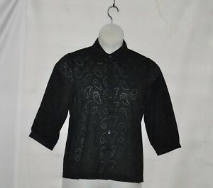 Linea by Louis Dell'Olio Cotton Paisley Eyelet Blouse Size M Black