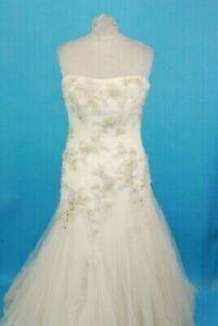 "Enzoani Constantina Ivory Strapless Princess Beaded Wedding Dress Size 12 32"""