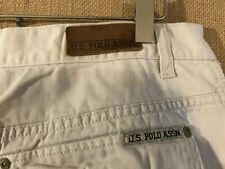"U.S. Polo ASSN. men's ivory solid flat front cargo short size 33 x 11"" cotton zi"