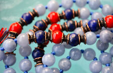 108 Aquamarine 8mm Lapis Lazuli Red Coral Hand Knotted Mala Beads Necklace