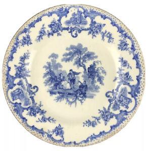 "Antique Blue Staffordshire Transferware Watteau Pattern England 5-3/4"" U24"