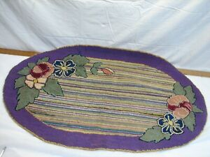 Antique Oval Hooked Rug Art Kitchen Mat Hand Made Floral Flowers Purple Runner