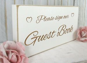 Guest Book Wedding Sign Free Standing Vintage Shabby & Chic White Wooden Plaque