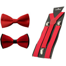 Men Pre-tied Tuxedo Bowtie Bow Tie Elastic Y-Back Clip On Suspender Brace Set