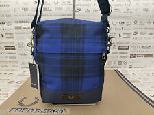 FRED PERRY Small Body Bag Blue Check CLASSIC Side Canvas Shoulder Bags BNWT R£50