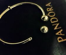 Pandora Moments Open Bangle Bracelet with Logo Caps - Sterling Silver