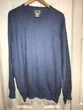 LL BEAN Mens Size XL Blue Sweater Cotton Cashmere Blend Crewneck C16