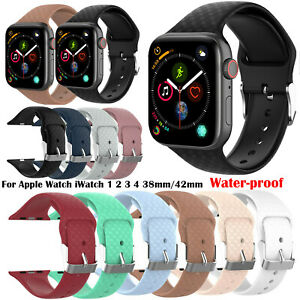 Water-proof Sport Silicone Band Straps for Apple Watch iWatch 1 2 3 4 38mm 42mm