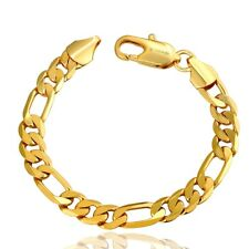 18K Yellow Gold Men Bracelet Curb Chain Link Fashion Bangle Jewelry