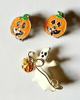 VTG Halloween Lot Ghost Enamel Gold Tone Brooch/Pin & MJ signed JOL Earrings