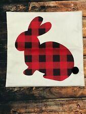 "Red & Black Buffalo Plaid Bunny 18"" x 18"" Pillow Cover"