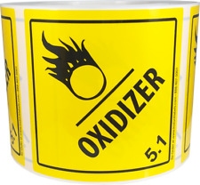 Hazard Class 5.1 D.O.T. Oxidizer Labels Laminated 4x4 Inch Square 500 Labels