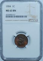 1904 NGC MS63BN S-8 Snow-8 RPD Repunched Date Indian Cent