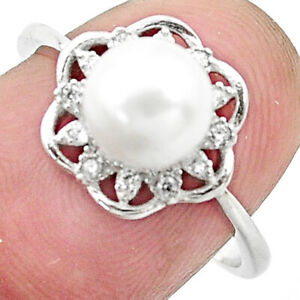 3.47cts Natural White Pearl Topaz 925 Silver Solitaire Ring Size 7 C25352