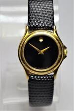 Ladies MOVADO Museum Gold Tone Wristwatch Model 87 E4 0823 w Black Leather Strap