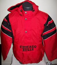 CHICAGO BULLS NBA Starter Hooded Half Zip Pullover Jacket S M L XL 2X RED