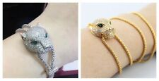 Leopard panther jaguar pave cz 18k gold platinum plate necklace pendant bracelet