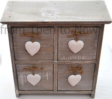 Chic & Shabby Wooden 4 Drawer Cabinet Storage Chest White Hanging Hearts Handles