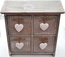 Chic & Shabby in legno 4 cassetto armadio di stoccaggio petto bianco cuori appesi Maniglie