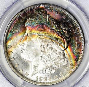 1884-O Morgan Silver Dollar PCGS MS63 CAC Rainbow Toned