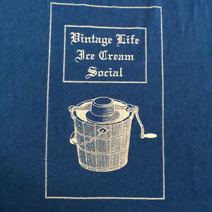 Vintage Life Ice Cream Social T Shirt Large Blue Hand Crank Maker Bucket