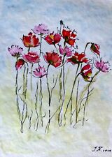 bild aquarell original, Blume, Größe 14,8 x 10,5 cm, Papier 300g/qm