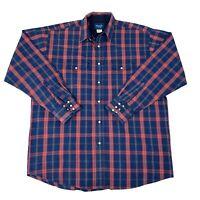 Wrangler Mens Size 2XT Tall Blue & Red plaid Long Sleeve Pearl Snap Cowboy Shirt