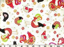 Quilting Treasures ~ Fancy Retro Roosters Chicken ~ 100% Cotton Quilt Fabric BTY